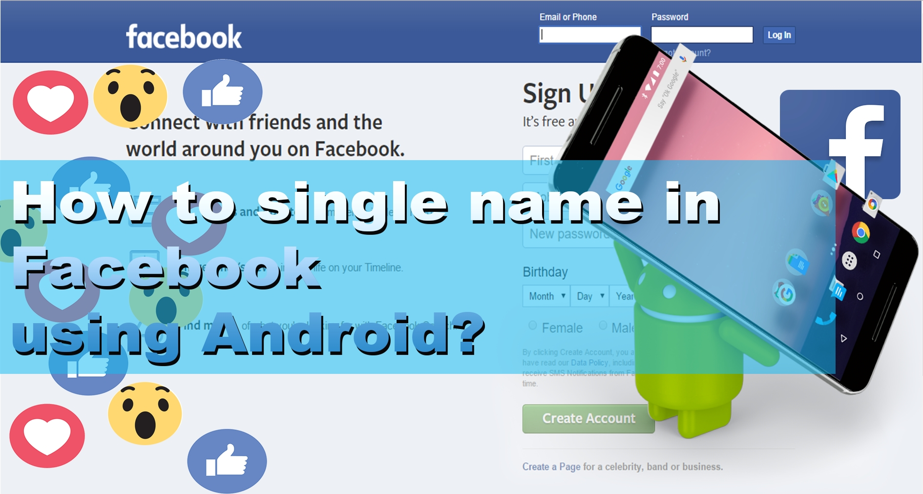 How to Single name in Facebook using Android phones